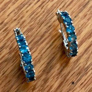 925 SILVER Beautiful Blue Topaz Earrings